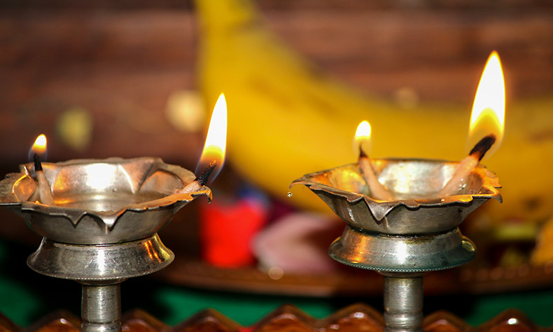 Oil lamps for Hindu rituals