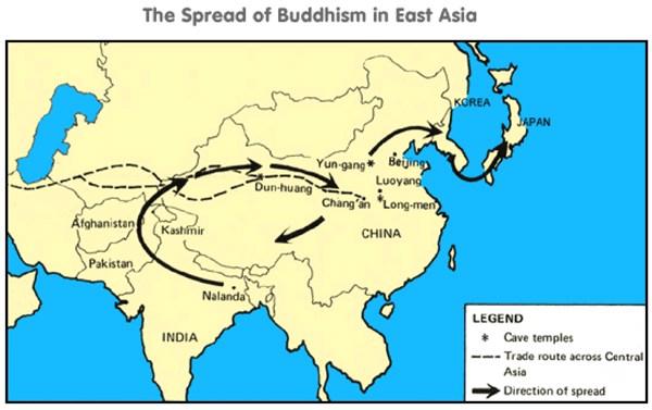 spread of buddhism in east asia